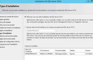 Type installation pour CRM Sage et SSMS 2014